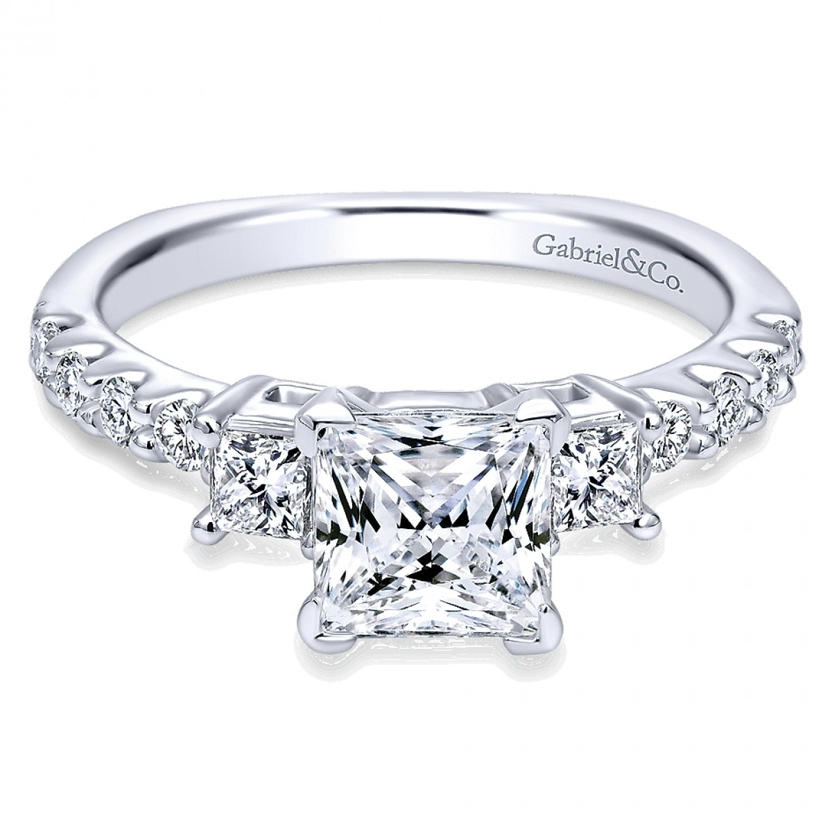 Gabriel & Co 3 Stone Engagement Ring ER4020