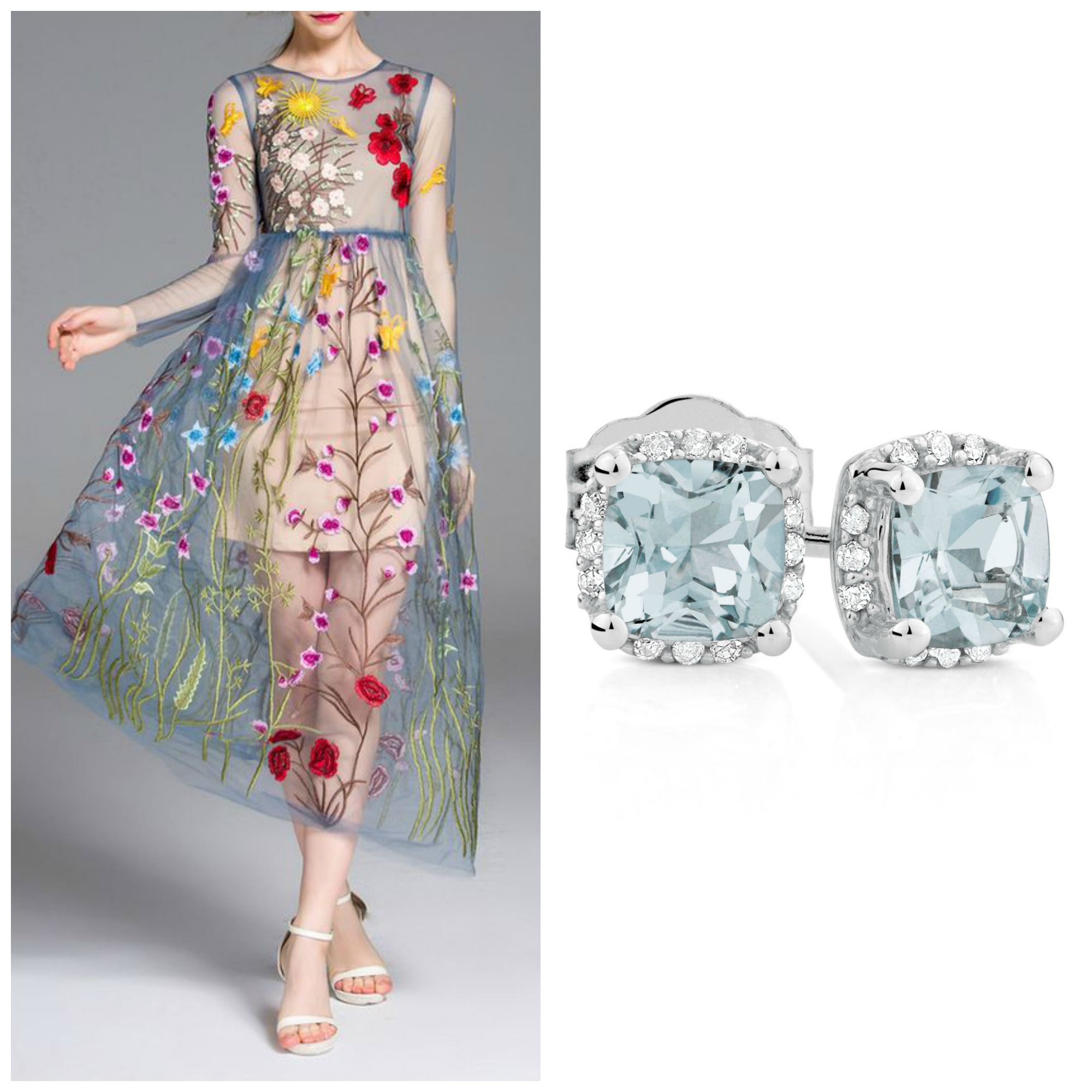 aquamarine earrings and dress